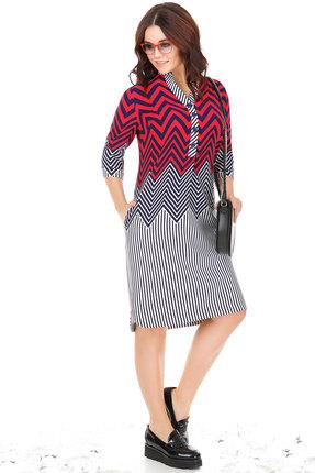 Купить Платье Anna Majewska 986 темно-синий с красным, Повседневные платья, 986, темно-синий с красным, ПЭ - 90%, вискоза - 8%, спандекс - 2%, Мультисезон