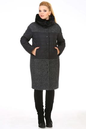 Пальто Диамант 1118 серый с черным