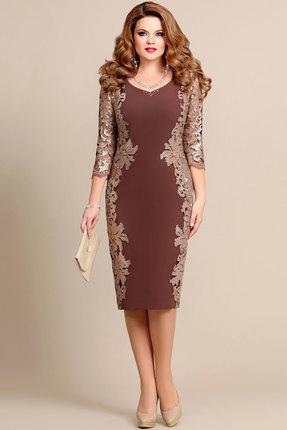 Купить Платье Mira Fashion 4175 кофе, Вечерние платья, 4175, кофе, ПЭ - 73%, Вискоза - 25%, Спандекс - 2%, Мультисезон
