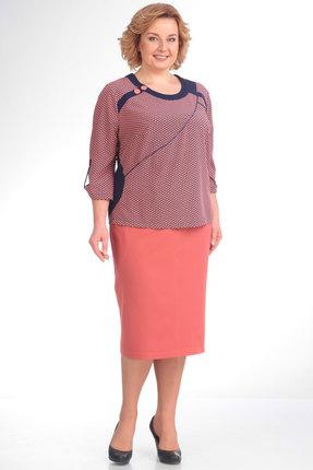 Купить Комплект юбочный Новелла Шарм 2733 коралловые тона, Юбочные, 2733, коралловые тона, Ткань: юбка - плательная, блуза - блузочная, Лето
