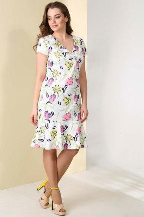 Купить Платье Golden Valley 4379 молочный тюльпаны , Платья, 4379, молочный тюльпаны , Тип ткани: текстильный, плательный, эластичный, непрозрачный сатин (полиэстер 96%, спандекс 4%), Лето