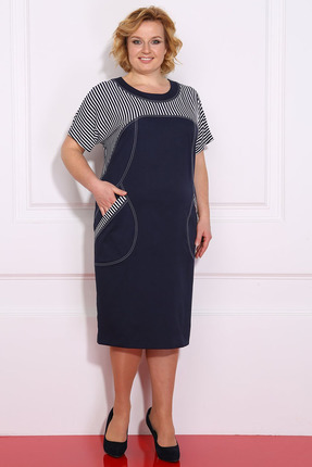 Синее платье с короткими рукавами стрейч в полоску