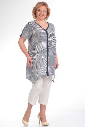 Купить со скидкой Комплект с капри Новелла Шарм 2638-1 костюм бело-синие тона