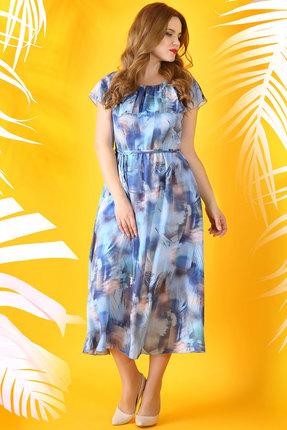 Купить Платье Ivelta plus 1532 голубые тона, Платья, 1532, голубые тона, Вискоза -100%, подкладка: хлопок - 100%, Лето