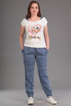 Купить Комплект брючный Lady Style Classic 848 синий с белым, Брючные, 848, синий с белым, Блуза: Вискоза 90%+Лайкра 10% Брюки: Вискоза 100%, Лето