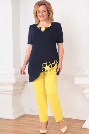Комплект брючный Асолия 1140 темно-синий+желтый