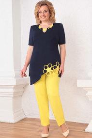 Комплект брючный Асолия 1140 тёмно-синий+желтый