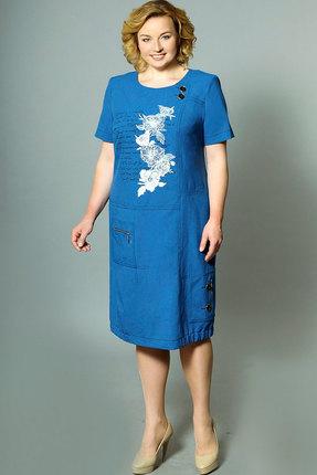 Купить Платье Теллура-Л 1360 синий, Платья, 1360, синий, 60% лён, 35% Пэ, 5% эластан; текстиль, Лето
