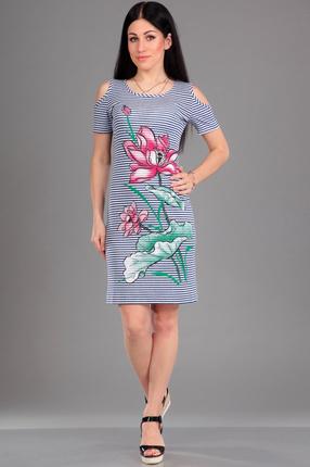 Купить Платье Jurimex 1593 синие тона, Платья, 1593, синие тона, Хлопок - 95%, эластан - 5%., Лето