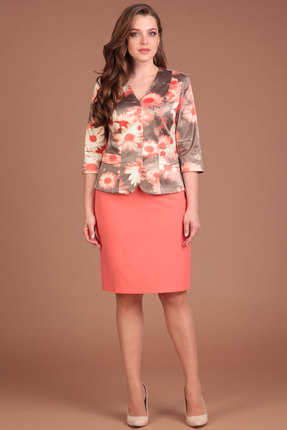 Купить Комплект юбочный Lady Style Classic 869 коралл с цветами, Юбочные, 869, коралл с цветами, Жакет: Хлопок 69%+Нейлон 26%+Эластан 5% Юбка: ПЭ 71%+Вискоза 23%+Спандекс 6%, Лето