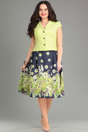 Комплект юбочный Lady Style Classic 1180 лайм с темно-синим