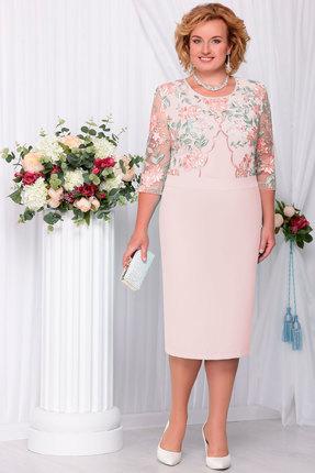 Купить Платье Ninele 2102 пудра, Платья, 2102, пудра, Полиэстер-97%, Спандекс-3%, кружево - ПЭ-100%, подкладка - хлопок 50%, Полиэстер-50%, Мультисезон