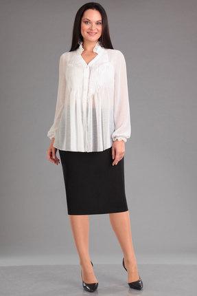Купить Комплект юбочный Ива 935 молочный с черным, Юбочные, 935, молочный с черным, юбка: костюмная 95%п/э, 5%спандекс блузка: шифон-креп 100%п/э, Мультисезон