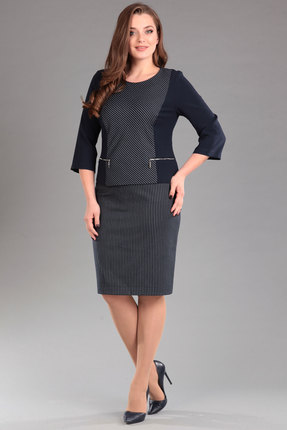 Купить Комплект юбочный Lady Style Classic 1291 чернильный, Юбочные, 1291, чернильный, ПЭ 63%+Вискоза 35%+ПУ 2% Подкладка юбки: ПЭ 100%, Мультисезон