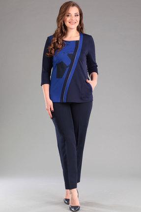 Купить Комплект брючный Lady Style Classic 915 темно-синий, Брючные, 915, темно-синий, ПЭ 55%+Вискоза 40%+Спандекс 5%, Мультисезон