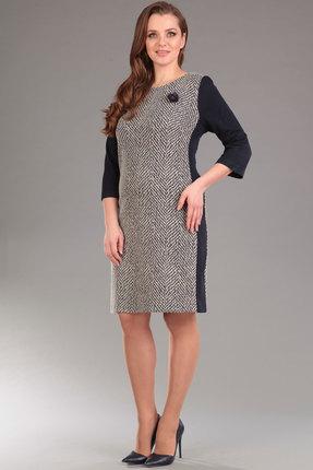Купить Платье Lady Style Classic 1297 черный с бежевым, Платья, 1297, черный с бежевым, ПЭ 55%+Вискоза 40%+ПУ 5%, Мультисезон