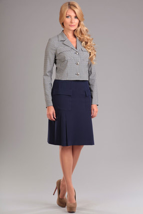 Купить Комплект юбочный Lady Style Classic 951 клетка с синим , Юбочные, 951, клетка с синим , Жакет: ПЭ 63%+Вискоза 32%+Эластан 5% Юбка: ПЭ 73%+Вискоза 24%+Спандекс 3%, Мультисезон