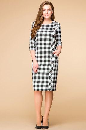 Купить Платье Romanovich style 1-1222 черно-белая клетка, Платья, 1-1222, черно-белая клетка, Трикотаж (100%ПЭ), Мультисезон