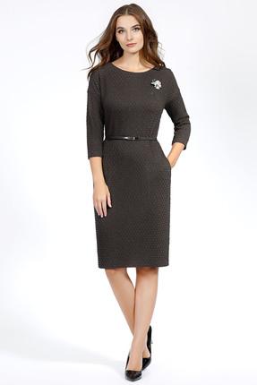 Купить Платье Bazalini 2881 коричневый, Повседневные платья, 2881, коричневый, Рельефный трикотаж. Вискоза 65% Хлопок 25% Металлическая нить 10%., Мультисезон