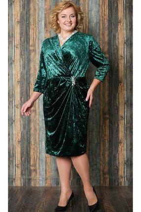 Купить Платье Aira Style 582 зеленый, Платья, 582, зеленый, Бархат муар , Мультисезон