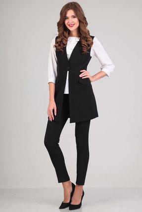 Купить Комплект брючный Denissa Fashion 1076-1 черный, Брючные, 1076-1, черный, ПЭ 71%, вискоза 23%, спандекс 6%, Мультисезон