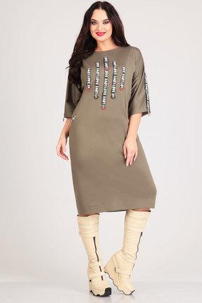 Купить Платье Andrea Style 0019 хаки, Платья, 0019, хаки, пэ 95%, спандекс 5%., Мультисезон