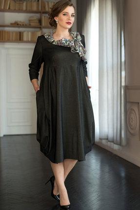 Купить Платье ЮРС 17-579 графитовый, Платья, 17-579, графитовый, Тип ткани – костюмно-плательная (джинс). вискоза 80%, нейлон 17%, спандекс 3%, Мультисезон