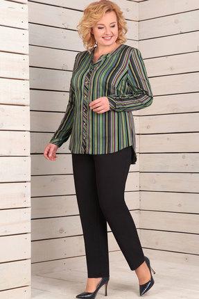 Купить Комплект брючный Асолия 1151 чёрный+мультиколор, Брючные, 1151, чёрный+мультиколор, Блузка: блузочная стрейчевая ткань; брюки: стрейчевая брючная ткань Состав ткани: блузка: ПЭ - 95%, спандекс - 5%; брюки: ПЭ - 71%, вискоза - 23%, спандекс - 6%, Мультисезон