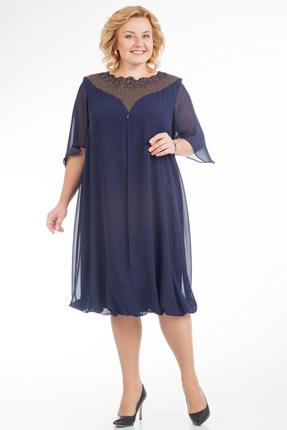 Купить Платье Pretty 607 темно синий, Платья, 607, темно синий, 96% полиэстр 4% спандекс, 100% полиэстр, Мультисезон