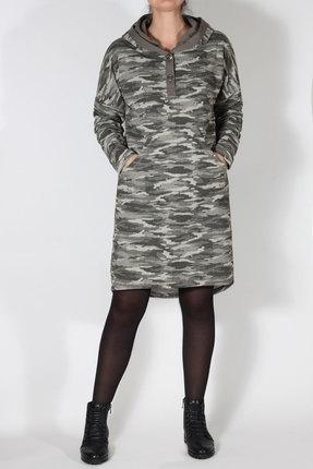 Купить Платье Mirolia 515 хаки - милитари , Платья, 515, хаки - милитари , Хлопок 89%+ПЭ 11%, Мультисезон
