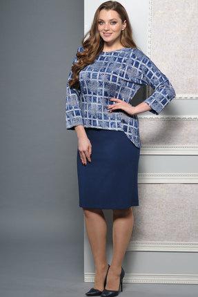 Купить Комплект юбочный Lady Style Classic 1181 синий, Юбочные, 1181, синий, Туника: ПЭ 38+Вискоза 58%+ПУ 4% Юбка: ПЭ 65%+Вискоза 30%+ПУ 5% Подкладка: ПЭ 100%, Мультисезон