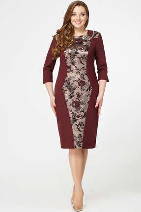 Купить Платье Erika Style 554 бордо, Платья, 554, бордо, вискоза 72%, ПЭ 25%, спандекс 3%, Мультисезон