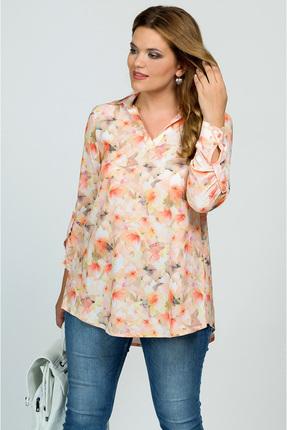 Купить Блузка Медея и К 1832 оранжевые цветы , Блузки, 1832, оранжевые цветы , 23, 4% вискоза, 70, 7% полиэстер, 5, 9% спандекс, Мультисезон