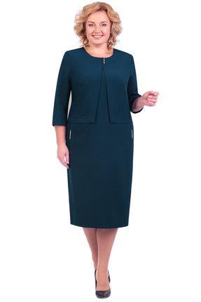 Купить Платье Линия-Л Б-1602 морская волна с синевой , Платья, Б-1602, морская волна с синевой , Ткань текстильная - ПЭ 96%+Спандекс 4%, Мультисезон