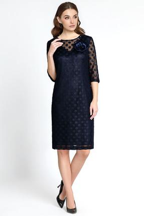 Купить Платье Bazalini 2992 темно синий, Вечерние платья, 2992, темно синий, Ткань сетка с принтом. Сатин., Мультисезон