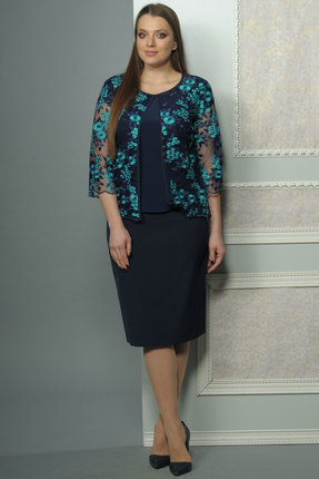 Комплект юбочный Lady Style Classic 1460 темно-синий, Юбочные, 1460, темно-синий, Юбка: ПЭ 71%+Вискоза 23%+ПУ 6% Блуза: ПЭ 95%+ПУ 5% Туника: ПЭ 100%, Мультисезон  - купить со скидкой