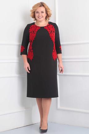Купить Платье Орхидея Люкс 816 черный с красным, Платья, 816, черный с красным, Поливискоза (п/э 62%, вискоза 35%, пу 3%), Мультисезон