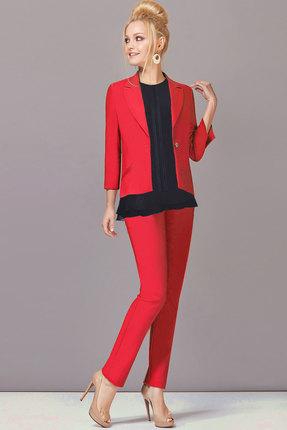 Купить Комплект брючный Lady Secret 2393 красный с черным, Брючные, 2393, красный с черным, Жакет и брюки: ПЭ 55%+Вискоза 42%+Спандек 3% Блузка: ПЭ 49%+Вискоза 48%+Спандекс 3%, Мультисезон