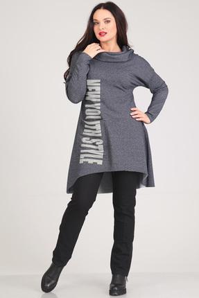 Купить Комплект брючный Andrea Style 0035 серый с черным, Брючные, 0035, серый с черным, Туника - трикотаж (ПЭ 51 %, вискоза 45%, спандекс 4%) Брюки - хлопок-95%, ПЭ-5%, Мультисезон