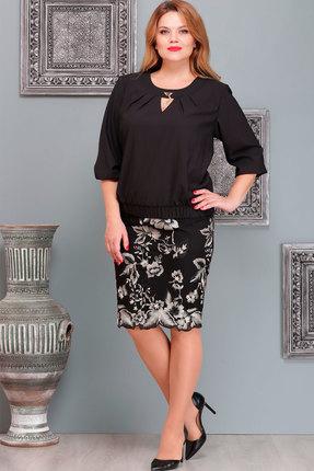 Купить Комплект юбочный Nadin-N 1472 чёрный, Юбочные, 1472, чёрный, кружево+ костюмно плательная ткань, Мультисезон