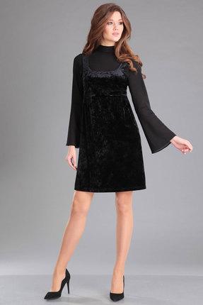 Комплект плательный Ива 973 черный, Плательные, 973, черный, блуза: шифон стреч 100% п/э сарафан: бархат-велюр 100% п/э, Мультисезон  - купить со скидкой