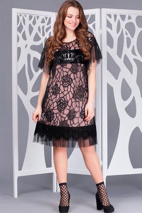 Купить Платье ТАиЕР 670 чёрный+розовый, Платья, 670, чёрный+розовый, ПЭ 95%, Ликра 5%, Мультисезон