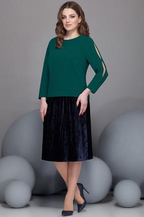 Купить Комплект юбочный Ivelta plus 2432 зеленый с черным, Юбочные, 2432, зеленый с черным, Юбка - 95% п/э, 5% спандекс Блуза - 80, 6% п/э, 15% вискоза, 4, 46% спандекс, Мультисезон