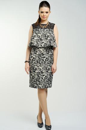 Купить Платье Danaida 1340 молочно-черные тона, Платья, 1340, молочно-черные тона, акрил 36%, полиэстер 32%, хлопок 20%, металлическая нить 12%, Мультисезон