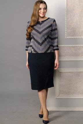 Купить Комплект юбочный Lady Style Classic 1481 серый с синим, Юбочные, 1481, серый с синим, Джемпер и юбка: ПЭ 62%+Вискоза 38%, Мультисезон