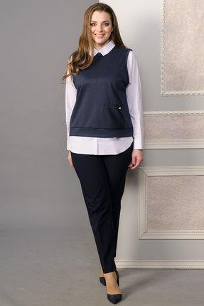 Комплект брючный Lady Style Classic 1444 синий, Брючные, 1444, синий, Жилет: ПЭ 55%+Вискоза 40%+ПУ 5% Блуза: Хлопок 65%+ПА 31%+ПУ 4% Брюки: ПЭ 71%+Вискоза 23%+ПУ 6%, Мультисезон  - купить со скидкой