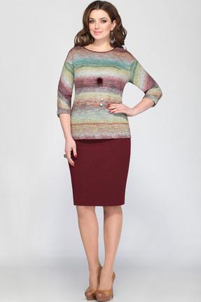 Купить Комплект юбочный Matini 11102 бордо с цветным, Юбочные, 11102, бордо с цветным, Блузон - 52% хлопок, 43% пэ, 5% эластан Юбка - 100% пэ., Мультисезон