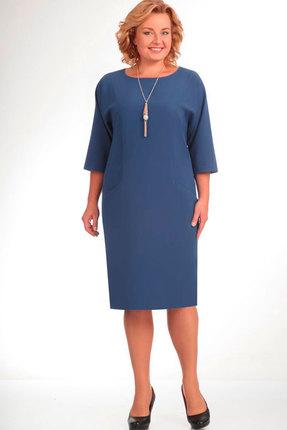 Купить Платье Elga 01-472.1 серо-голубой, Повседневные платья, 01-472.1, серо-голубой, 70% - ПЭ 25% - Вискоза 5% - Спандекс, Мультисезон