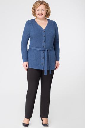 Женская синяя трикотажная шерстяная кофта из вискозы