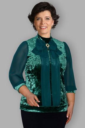 Купить Блузка Таир-Гранд 62295 изумруд, Блузки, 62295, изумруд, велюр + шифон, Мультисезон